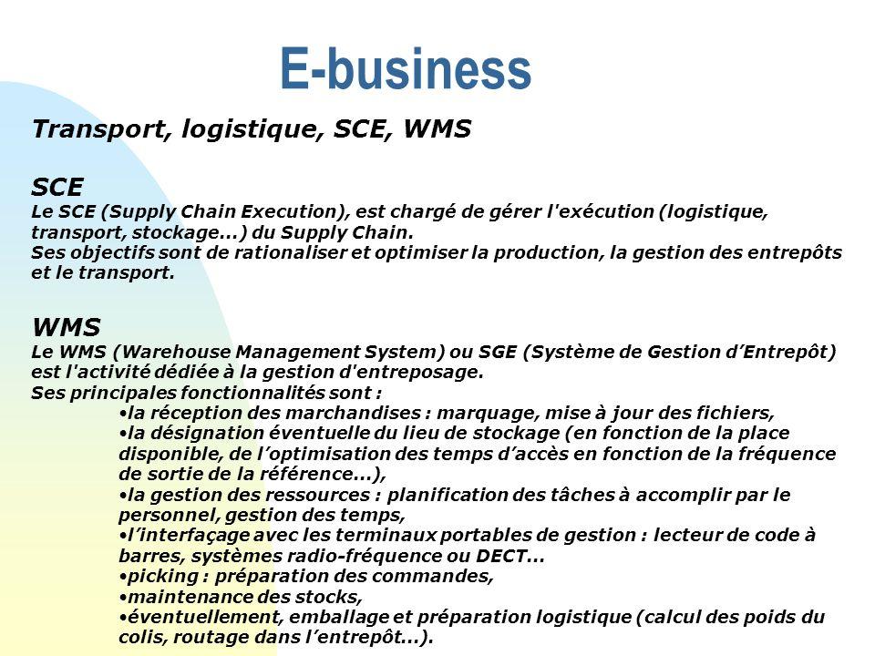 E-business Transport, logistique, SCE, WMS SCE Le SCE (Supply Chain Execution), est chargé de gérer l'exécution (logistique, transport, stockage...) d
