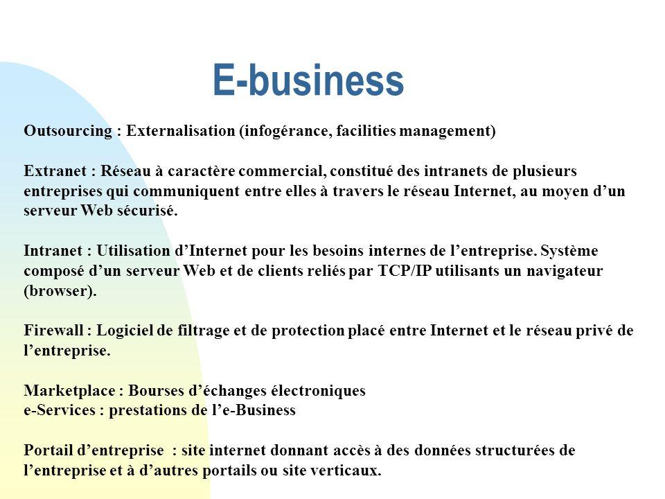 E-business Outsourcing : Externalisation (infogérance, facilities management) Extranet : Réseau à caractère commercial, constitué des intranets de plu