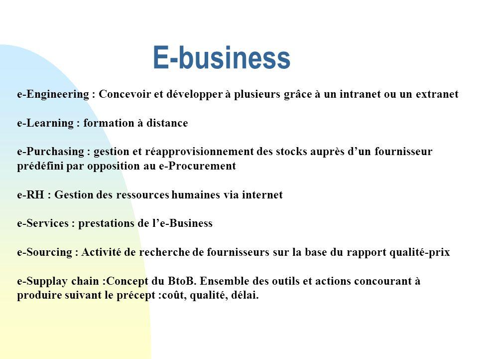 E-business e-Engineering : Concevoir et développer à plusieurs grâce à un intranet ou un extranet e-Learning : formation à distance e-Purchasing : ges