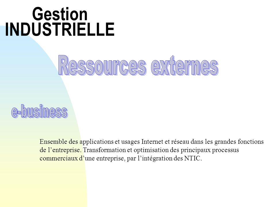 E-business Ensemble des applications et usages Internet et réseau dans les grandes fonctions de lentreprise.