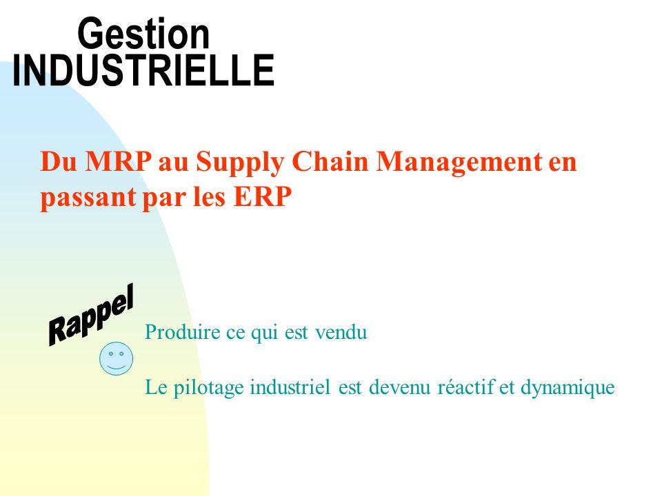 Gestion INDUSTRIELLE Du MRP au Supply Chain Management en passant par les ERP Produire ce qui est vendu Le pilotage industriel est devenu réactif et d
