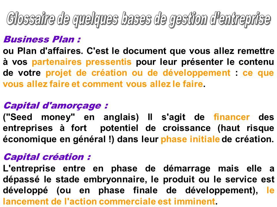 Business Plan : ou Plan d'affaires. C'est le document que vous allez remettre à vos partenaires pressentis pour leur présenter le contenu de votre pro