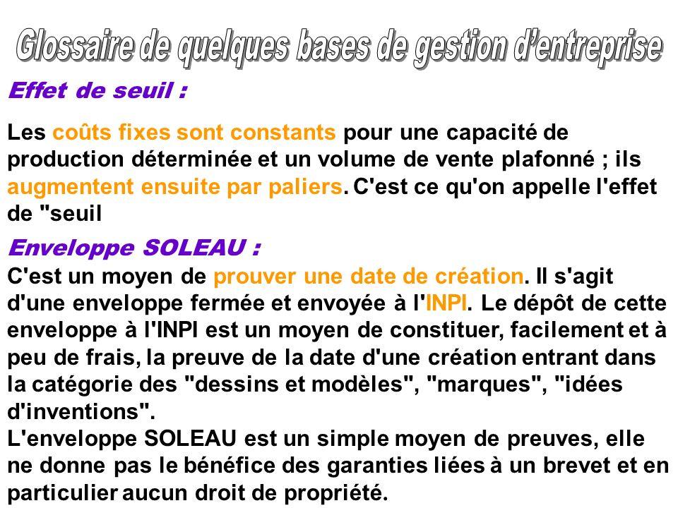 Enveloppe SOLEAU : C'est un moyen de prouver une date de création. Il s'agit d'une enveloppe fermée et envoyée à l'INPI. Le dépôt de cette enveloppe à