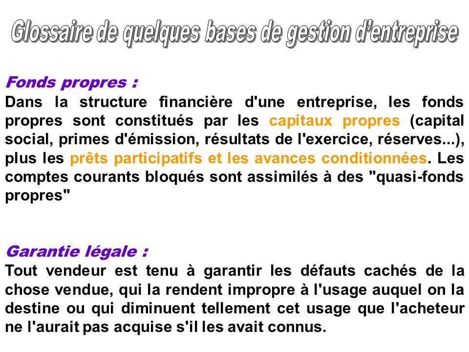 Fonds propres : Dans la structure financière d'une entreprise, les fonds propres sont constitués par les capitaux propres (capital social, primes d'ém
