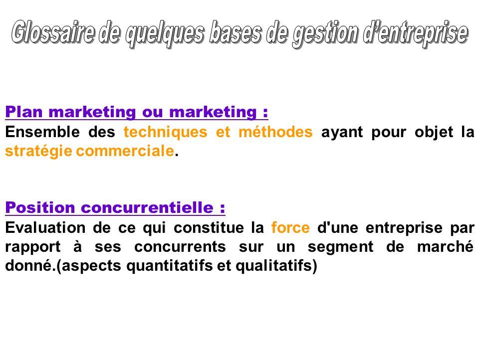 Plan marketing ou marketing : Ensemble des techniques et méthodes ayant pour objet la stratégie commerciale. Position concurrentielle : Evaluation de