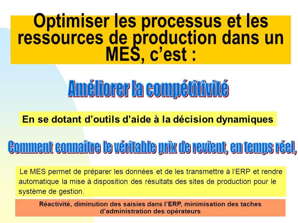 Le MES permet de préparer les données et de les transmettre à lERP et rendre automatique la mise à disposition des résultats des sites de production p