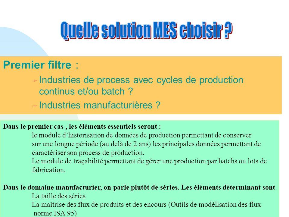Premier filtre : F Industries de process avec cycles de production continus et/ou batch ? F Industries manufacturières ? Dans le premier cas, les élém