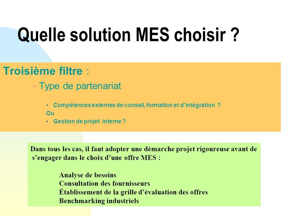 Quelle solution MES choisir ? Troisième filtre : F Type de partenariat Compétences externes de conseil, formation et dintégration ? Ou Gestion de proj