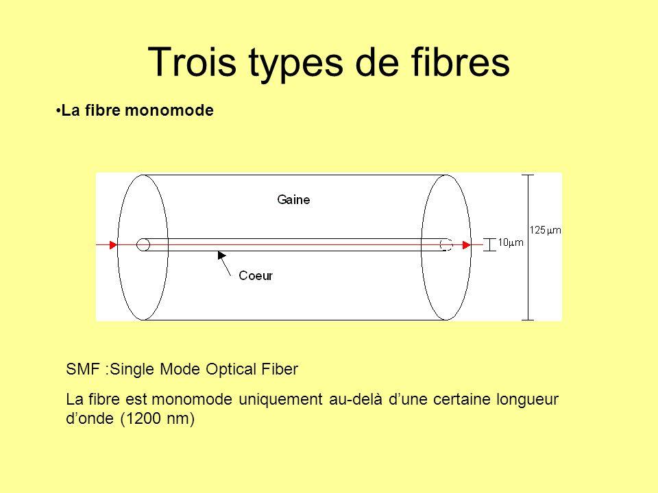 Trois types de fibres La fibre monomode SMF :Single Mode Optical Fiber La fibre est monomode uniquement au-delà dune certaine longueur donde (1200 nm)