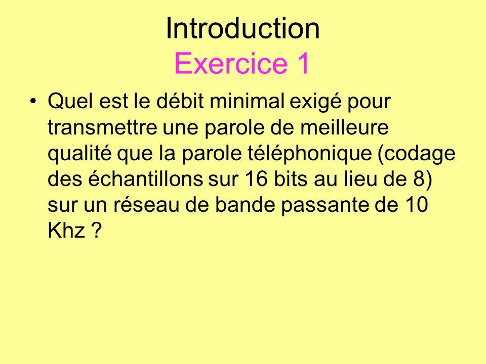 Introduction Exercice 1 Quel est le débit minimal exigé pour transmettre une parole de meilleure qualité que la parole téléphonique (codage des échant