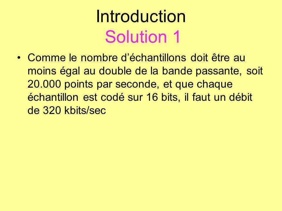Introduction Solution 1 Comme le nombre déchantillons doit être au moins égal au double de la bande passante, soit 20.000 points par seconde, et que c