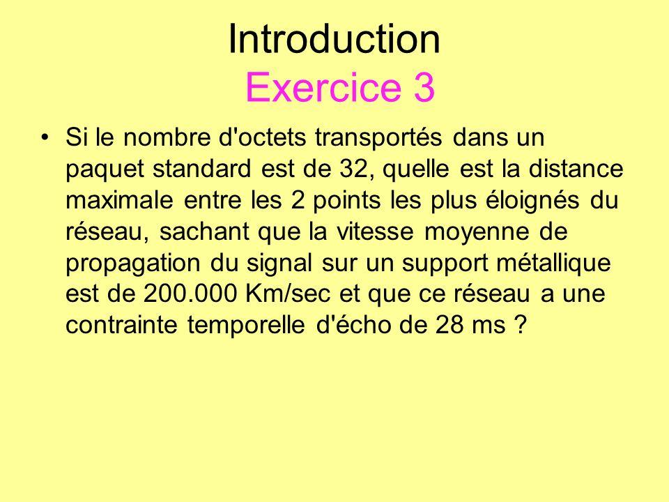 Introduction Exercice 3 Si le nombre d'octets transportés dans un paquet standard est de 32, quelle est la distance maximale entre les 2 points les pl
