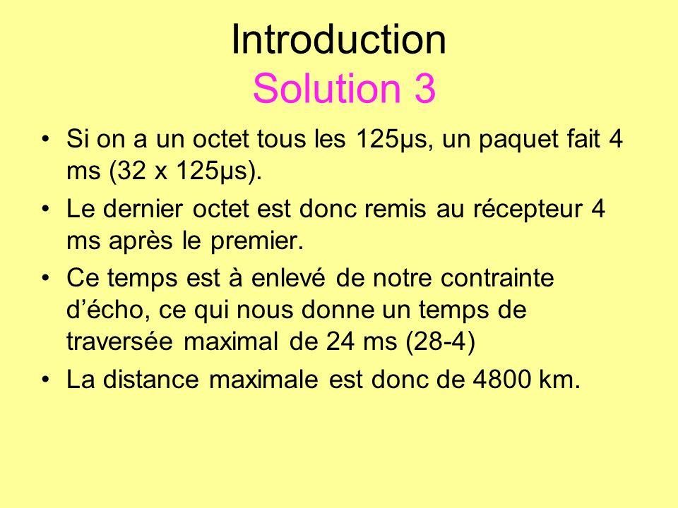 Introduction Solution 3 Si on a un octet tous les 125µs, un paquet fait 4 ms (32 x 125µs). Le dernier octet est donc remis au récepteur 4 ms après le