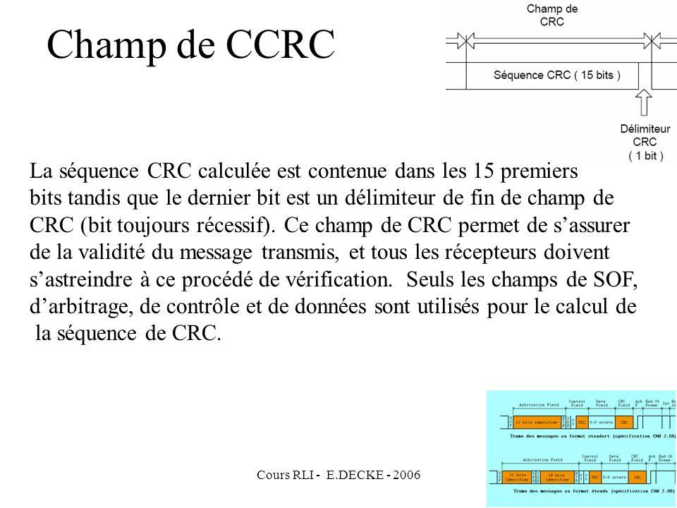 Cours RLI - E.DECKE - 2006 Champ de CCRC La séquence CRC calculée est contenue dans les 15 premiers bits tandis que le dernier bit est un délimiteur d