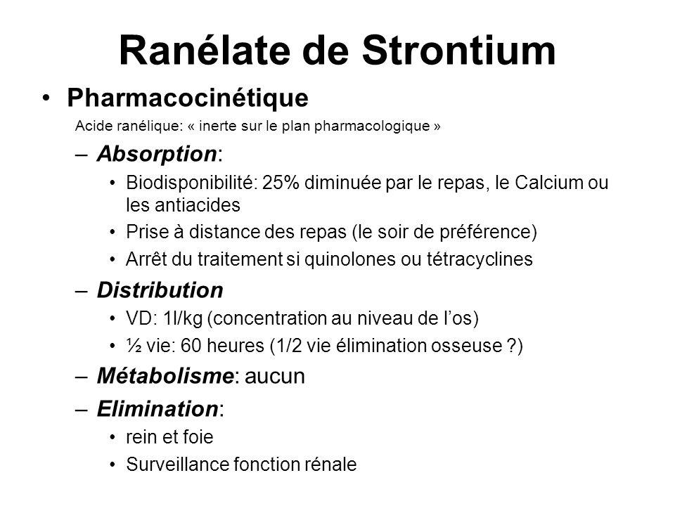 Ranélate de Strontium Pharmacocinétique Acide ranélique: « inerte sur le plan pharmacologique » –Absorption: Biodisponibilité: 25% diminuée par le rep