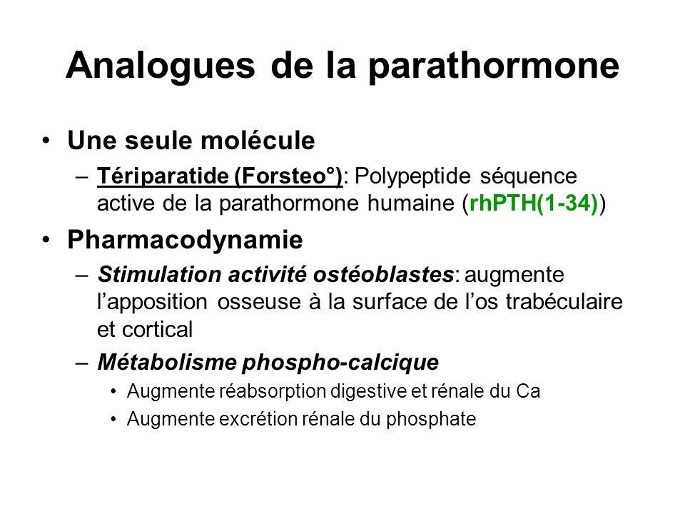 Analogues de la parathormone Une seule molécule –Tériparatide (Forsteo°): Polypeptide séquence active de la parathormone humaine (rhPTH(1-34)) Pharmac