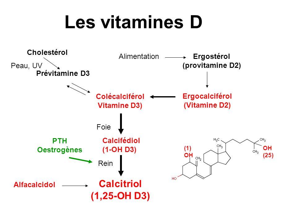 Les vitamines D Vitamines D naturelles –Ergocalciférol: Stérogyl° –Colécalciférol: Uvédose° Vitamines D3 hydroxylées –25(OH)D3: Dédrogyl° –1alpha(OH)D3: Un-Alpha° –1,25(OH): Rocaltrol° Vitamines D3+calcium –Carences en vitamine D –Ostéomalacie, Insuffisance rénale –HyperPTH de insuffisance rénale –Rachitisme et ostéomalacie vitaminoresistants –Ostéoporose chez le carencé ou à risque de carence