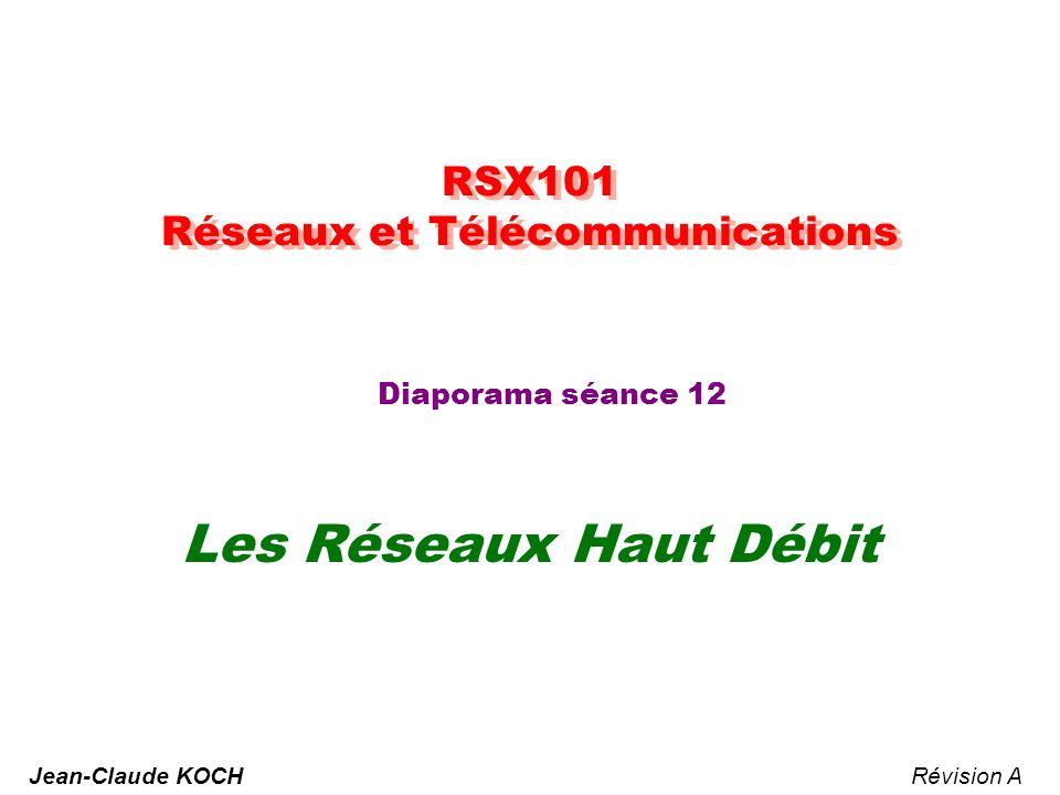 RSX101 Réseaux et Télécommunications Diaporama séance 12 Les Réseaux Haut Débit Révision AJean-Claude KOCH