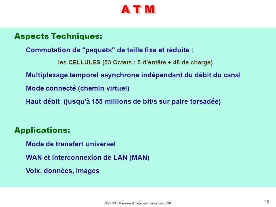 RSX101 - Réseaux & Télécommunication - JCK 16 Aspects Techniques: Commutation de