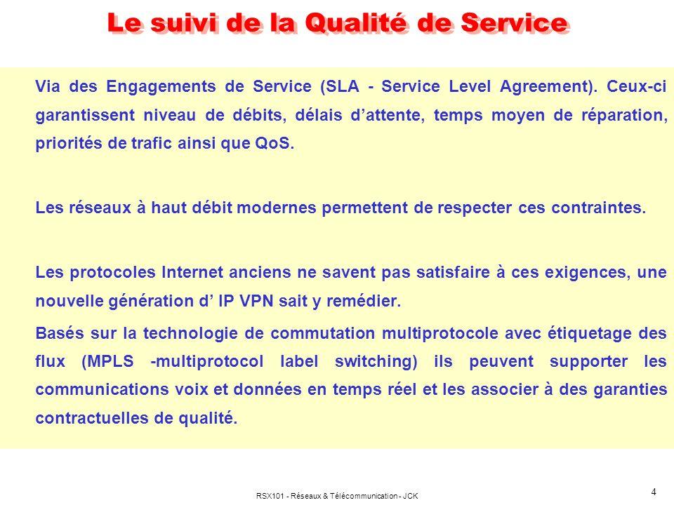 RSX101 - Réseaux & Télécommunication - JCK 4 Le suivi de la Qualité de Service Via des Engagements de Service (SLA - Service Level Agreement). Ceux-ci