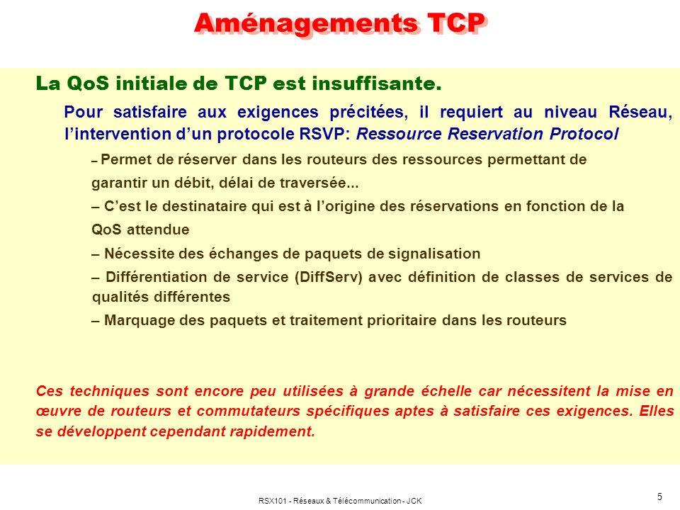 RSX101 - Réseaux & Télécommunication - JCK 5 Aménagements TCP La QoS initiale de TCP est insuffisante. Pour satisfaire aux exigences précitées, il req
