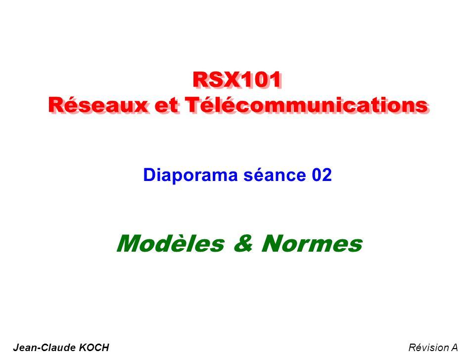 RSX101 Réseaux et Télécommunications Diaporama séance 02 Modèles & Normes Révision AJean-Claude KOCH