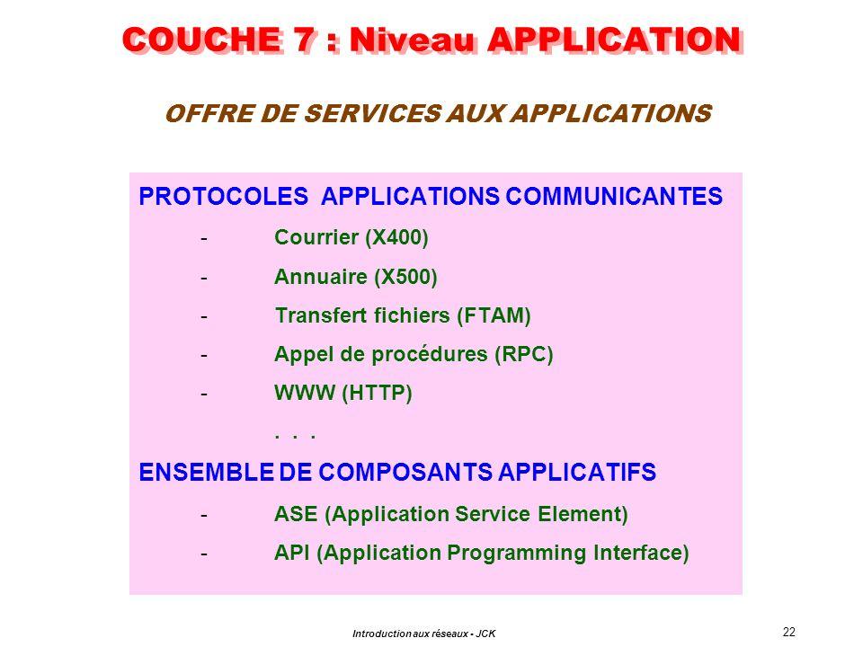 22 Introduction aux réseaux - JCK COUCHE 7 : Niveau APPLICATION PROTOCOLES APPLICATIONS COMMUNICANTES -Courrier (X400) -Annuaire (X500) -Transfert fic