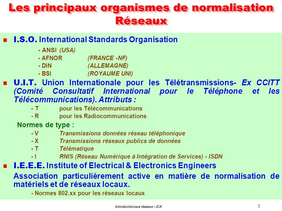 4 Introduction aux réseaux - JCK n MODELE CONCEPTUEL -7 Couches -Protocoles -Services O pen I nterconnexion S ystemsde S ystèmes I nterconnection O uverts OSI ISO