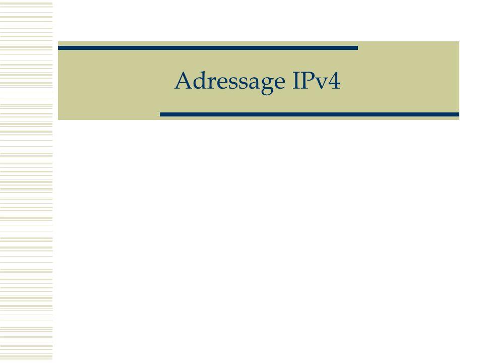 Adressage IPv4 Adresses de réseau : Par convention, l identificateur de réseau se termine par 1, 2 ou 3 zéros selon qu il appartient aux classes C, B ou A Par exemple, pour nommer le réseau de l université de Stanford à Palo Alto, il faudra utiliser l adresse de classe A 36.0.0.0 et pour l université de Sydney l adresse réseau de classe B 129.78.0.0