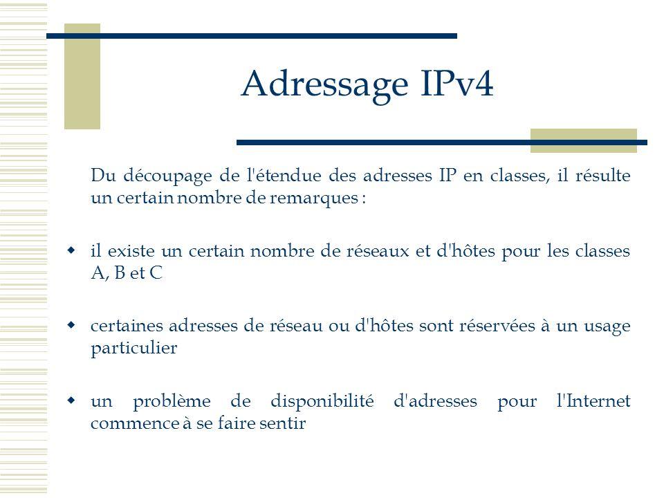 Adressage IPv4 Du découpage de l'étendue des adresses IP en classes, il résulte un certain nombre de remarques : il existe un certain nombre de réseau