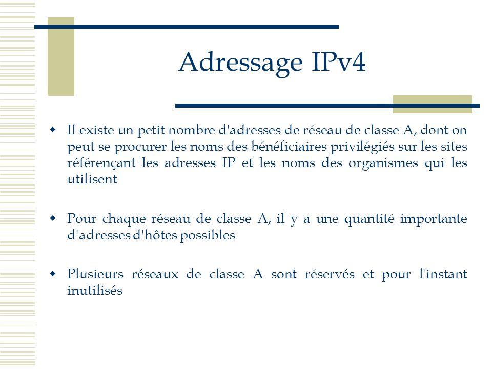 Adressage IPv4 Il existe un petit nombre d'adresses de réseau de classe A, dont on peut se procurer les noms des bénéficiaires privilégiés sur les sit