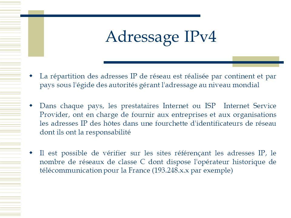 Adressage IPv4 La répartition des adresses IP de réseau est réalisée par continent et par pays sous l'égide des autorités gérant l'adressage au niveau