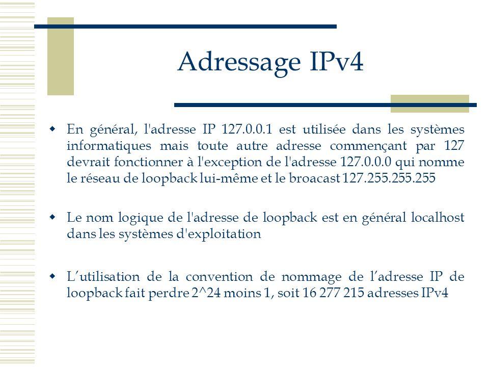 Adressage IPv4 En général, l'adresse IP 127.0.0.1 est utilisée dans les systèmes informatiques mais toute autre adresse commençant par 127 devrait fon