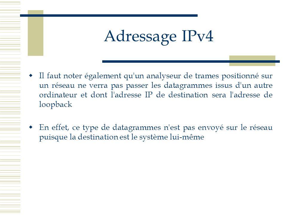 Adressage IPv4 Il faut noter également qu'un analyseur de trames positionné sur un réseau ne verra pas passer les datagrammes issus d'un autre ordinat