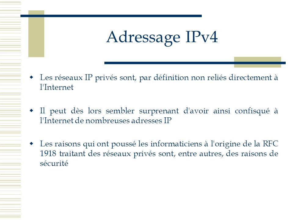 Adressage IPv4 Les réseaux IP privés sont, par définition non reliés directement à l'Internet Il peut dès lors sembler surprenant d'avoir ainsi confis