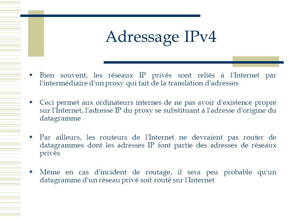 Adressage IPv4 Bien souvent, les réseaux IP privés sont reliés à l'Internet par l'intermédiaire d'un proxy qui fait de la translation d'adresses Ceci