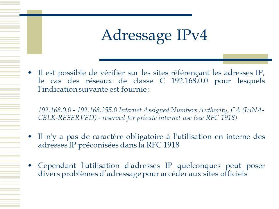 Adressage IPv4 Il est possible de vérifier sur les sites référençant les adresses IP, le cas des réseaux de classe C 192.168.0.0 pour lesquels l'indic