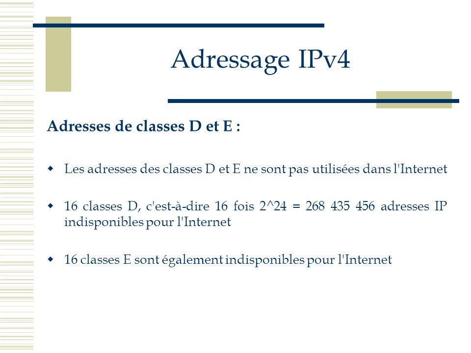 Adressage IPv4 Adresses de classes D et E : Les adresses des classes D et E ne sont pas utilisées dans l'Internet 16 classes D, c'est-à-dire 16 fois 2