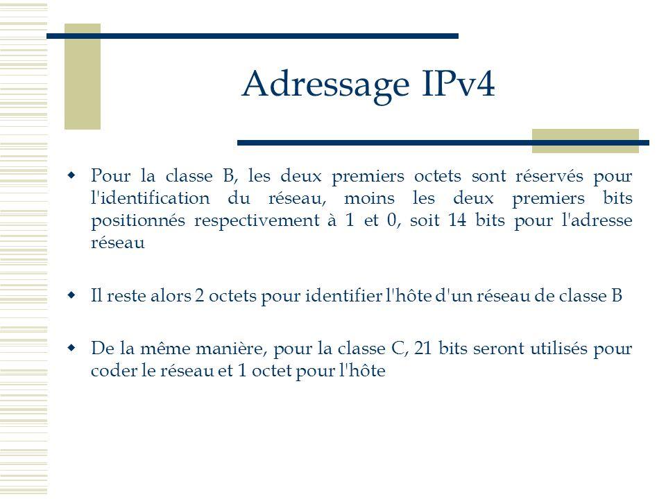 Adressage IPv4 Pour la classe B, les deux premiers octets sont réservés pour l'identification du réseau, moins les deux premiers bits positionnés resp