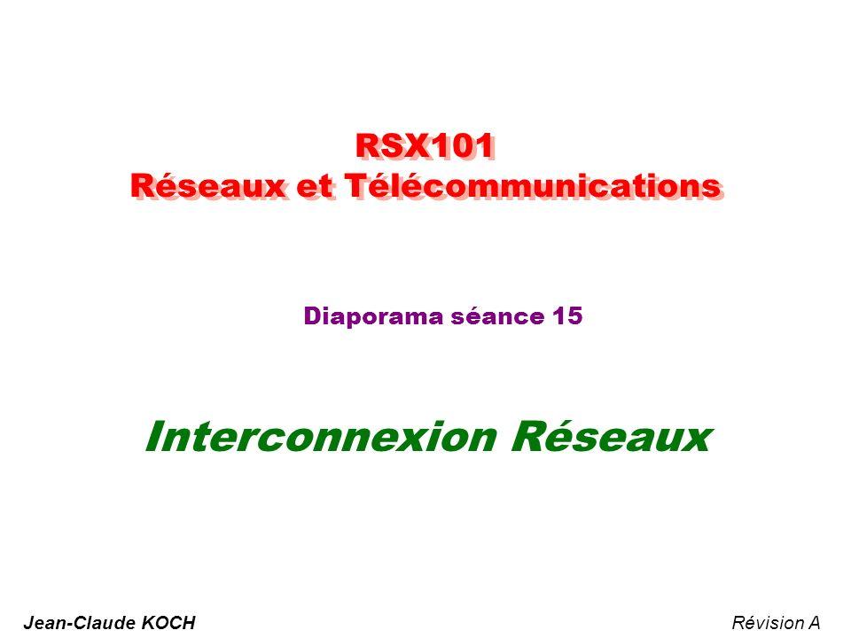 RSX101 - Réseaux & Télécommunication - JCK 12 Basés sur le nombre de sauts (Distance Vector) : –Diffusion périodique (30 à 90 secondes) de lensemble des informations de routage –Minimisation du nombre de sauts.