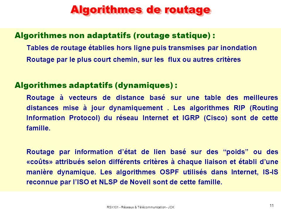 RSX101 - Réseaux & Télécommunication - JCK 11 Algorithmes de routage Algorithmes non adaptatifs (routage statique) : Tables de routage établies hors l