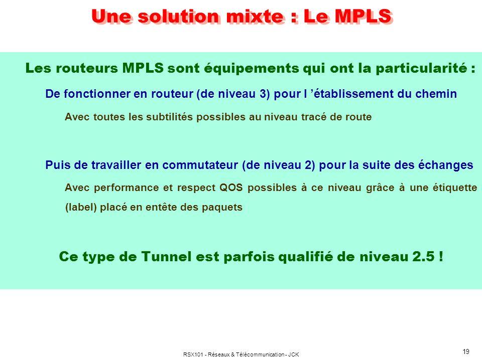 RSX101 - Réseaux & Télécommunication - JCK 19 Une solution mixte : Le MPLS Les routeurs MPLS sont équipements qui ont la particularité : De fonctionne
