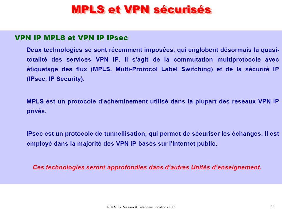 RSX101 - Réseaux & Télécommunication - JCK 32 MPLS et VPN sécurisés VPN IP MPLS et VPN IP IPsec Deux technologies se sont récemment imposées, qui engl