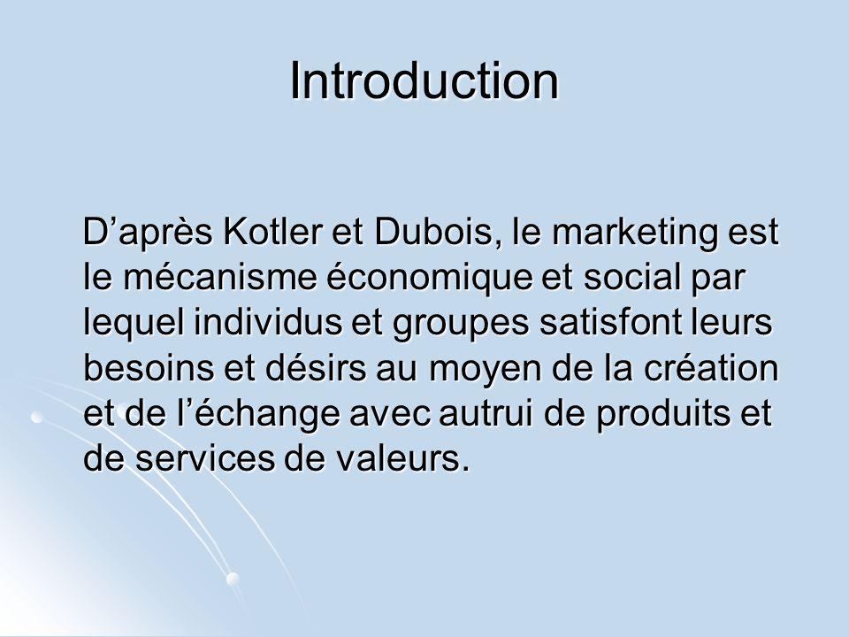 Introduction Daprès Kotler et Dubois, le marketing est le mécanisme économique et social par lequel individus et groupes satisfont leurs besoins et dé