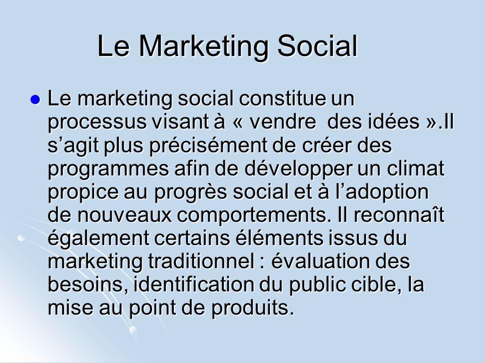 Le Marketing Social Le marketing social constitue un processus visant à « vendre des idées ».Il sagit plus précisément de créer des programmes afin de