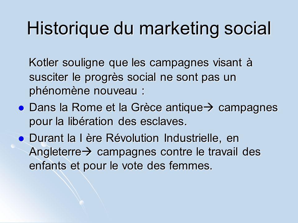 Historique du marketing social Kotler souligne que les campagnes visant à susciter le progrès social ne sont pas un phénomène nouveau : Kotler soulign
