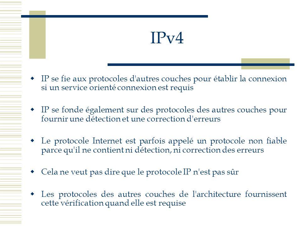 IPv4 IP se fie aux protocoles d'autres couches pour établir la connexion si un service orienté connexion est requis IP se fonde également sur des prot
