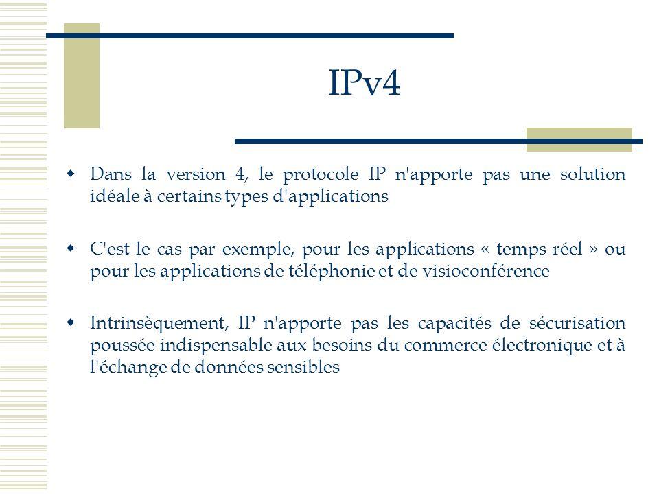 IPv4 Dans la version 4, le protocole IP n'apporte pas une solution idéale à certains types d'applications C'est le cas par exemple, pour les applicati