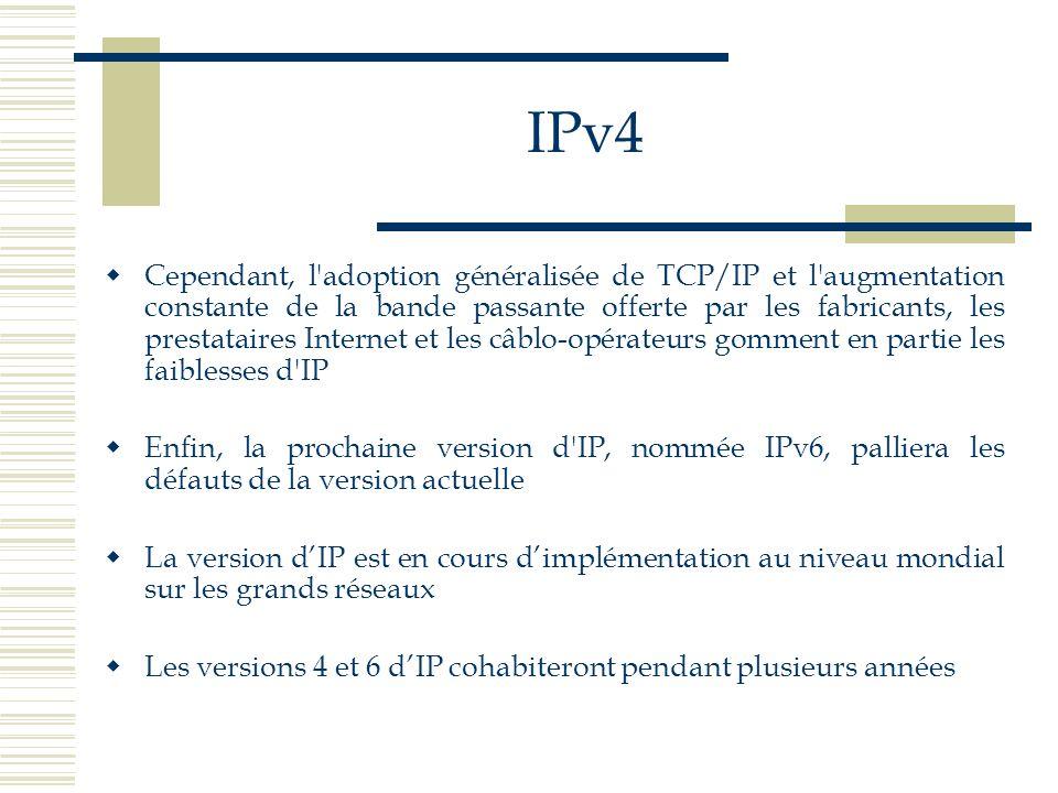 IPv4 Cependant, l'adoption généralisée de TCP/IP et l'augmentation constante de la bande passante offerte par les fabricants, les prestataires Interne