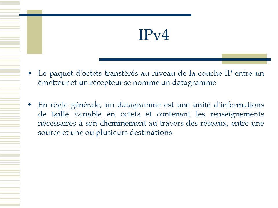 IPv4 Le paquet d'octets transférés au niveau de la couche IP entre un émetteur et un récepteur se nomme un datagramme En règle générale, un datagramme